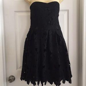 Black Strapless Lace Dress with Velvet Choker